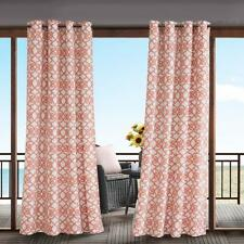 Indoor Outdoor Modern Coral White Scroll Filigree Grommet Curtain Panel Privacy