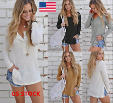 Women Long Sleeve Knitted Pullover Loose Split Sweater Button Jumper Tops Shirts
