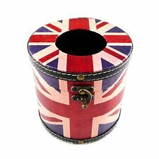 Leather Roll Tissue Box Cover Holder American/British Flag Cylinder Cover Box