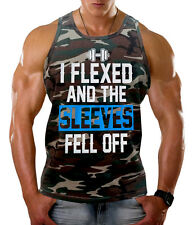 Men's I Flexed And The Sleeves Fell Off Camo Tank Top Workout Fitness Gym Beast