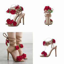 Women Peep Toe Stiletto Sandals High Heels Cross Lace Up Shoes Rose Strap Shoes