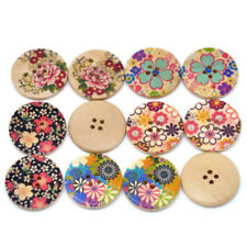 50x Mixed Flower Wood Sewing Buttons 30mm Multicolor K1J3