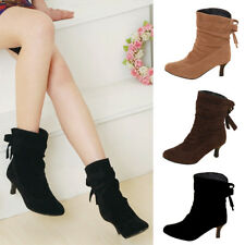 Women Ladies Faux Suede Pointed Toe Boots Stiletto Mid Heel Ankel Boots Shoes