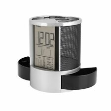 Mesh Pen Pencil Box Holder with Digital LCD Office ALarm Clock Time Date Temp