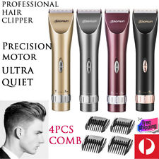 Ultra Quiet Professional Rechargeable Hair Clippers Men's Trimmer w/ 4x Combs
