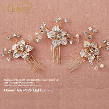 3Pcs Wedding Silver Plated Hair Pins Crystal Flower Bridal Rhinestone Hairpin