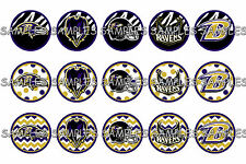"NFL Baltimore Ravens Zebra PRE CUTS or DIGITAL SHEET 1"" Circle Bottle Caps"
