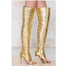 Sexy Women High Heel Over Knee Thigh Boot New Gladiator Leather Nightclub Shoes