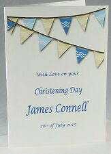 Personalised CHRISTENING BAPTISM NAMING DAY Card - name - bunting - colours