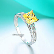 Fine 925 Sterling Silver Yellow Engagement Ring Princess Cut Simulated Diamond