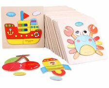 Wooden 3D Puzzle Jigsaw, Wooden Toys For Children Cartoon Animal Puzzles