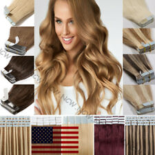 Seamless Tape In 100% Real Remy Human Hair Extensions Skin Weft Brown 60PCS 150G