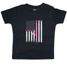 Inktastic Ribbon Flag Fight Baby T-Shirt Breast Cancer Awareness Pink American