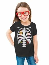 Sweet Candy Skeleton Rib-cage X-Ray Halloween Toddler/Kids Girls' Fitted T-Shirt