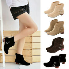 Women Ladies Suede Low Chunky Heel Boots Casual Ankel Boots Buckle Boots Shoes