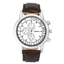 Mens watches top brand luxury Design Dial Leather Band Analog Quartz Wrist Watch