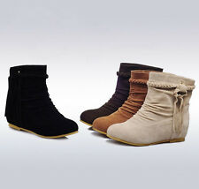 New Women's Suede Slouch Tassel Flat Heels Ankle Boots Winter Warm Fashion Shoes
