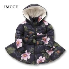 Winter Girls Hooded Jacket Printed Flowers Zipper Winter Coat For Girls Kids Pad