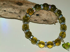 10mm OLIVE GREEN AMBER BEADED SILVER STRETCH CHARM BRACELETS MIXED SIZES & CHARM