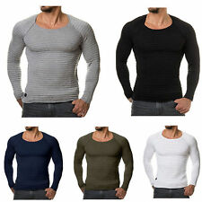 Men's Muscle Slim Fitted Tee T-Shirt Long Sleeve Crew Neck Striped Tops Blouse
