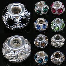 Rhinestone Hollow Out Beads Crystal Alloy Ball Charm Pendant Jewellery DIY