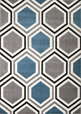 NEW (#312) Rio Area Rug, Gray, Blue HONEYCOMB- APRX SIZES 2X3 2X7 4X5 5X7 & 8X11
