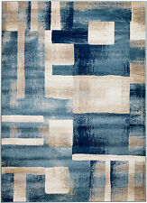 NEW (#404) MODERN AREA RUG;BLUE BEIGE BOX DESIGN, APRX SIZES 2X3, 2X7, 4X5 & 5X7