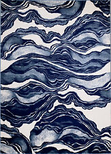 NEW (#403) MODERN AREA RUG, BLUE MARBLE DESIGN- APROX SIZES: 2X3, 2X7, 4X5 & 5X7
