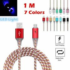 LED Light Up Glow Visible Micro USB Cable Charger Data Sync Charging For Phone