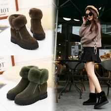 Women Snow Boots Ankle Booties Suede High Wedge Heel Platform Shoes Plush Winter