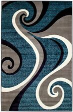 NEW AREA RUG (#32) BLUE SWIRL, RUG - APRX SIZES:  2'X3' 2'X7' 4'X5' 5'X7' 8'X11'
