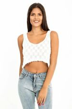 New Womens Ladies Dip Hem White Casual Sleeveless Check Print Vest Crop Top