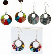 FAIR TRADE JEWELRY Mexico~ Inlaid Abalone / Stone Alpaca Silver PIERCED EARRINGS