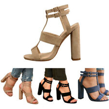 Women Mid Heels Chunky Sandals Open Toe Ankle Strap Suede Buckle Sandals Shoes