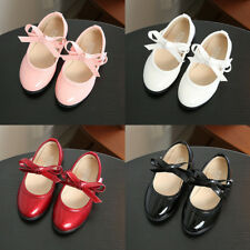 Kid Toddler Girl Solid Flats Shoes Bowknot Princess Party Dress PU Leather Shoes