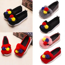 Kids Girls Cute Slip On Pumps Casual Flats Sneakers Shoes Fluffy Oxfords Loafers