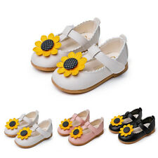 Kid Toddler Girl Sunflower T-Strap Leather Flat Shoes Princess Party Dress Shoes