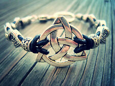 Silver Tone Celtic Knot Leather Bracelet, Handcrafted, Simple Natural Design,USA