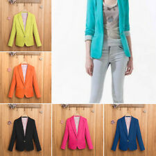 Stylish Women Casual Slim Solid Suit Blazer Jacket Ladies Candy Color Outwear