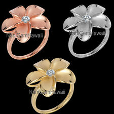 Hawaiian 22mm Plumeria Flower 925 Sterling Silver Ring SIZE 4-10