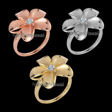 Hawaiian 15mm Plumeria Flower 925 Sterling Silver Ring SIZE 4-10