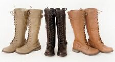Women-Knee-High-Lace-Up-Fashion-Military-Combat-Boots-Riding-Style-With-Zipper