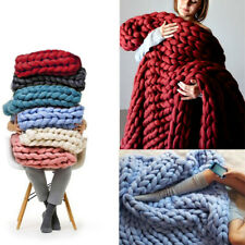 HOT 3 Sizes Hand Chunky Knitted Bed Sofa Blanket Thick Bulky Soft Spread Throws
