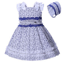 Baby Toddler Girls Polka Dot Dress and Bonnet Set Spanish Princess Party Pageant