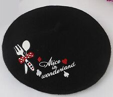 NEW Lady Women Black Wool blend Winter warm french Artist Round Beret hat Cap