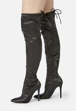 """SHOE DAZZLE SATIN THIGH HIGH 4.25"""" SLIM HEEL POINTED TOE BACK TIE $52 SHIPS FREE"""