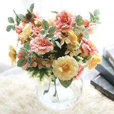 5 Heads Bridal Camellia Home Decoration Wedding DIY Bouquet Silk Flowers Craft