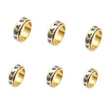 6 True Words Mantra Holy Symbol Lucky Rotatable Ring Gold Stainless Steel