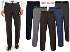 Mens Formal Trousers Office Business Work Casual Smart Belt Pants Big Plus Sizes