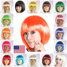 9 Colors Women Fashion Straight Full Wigs Short Bobo Cosplay Hair Party Costume